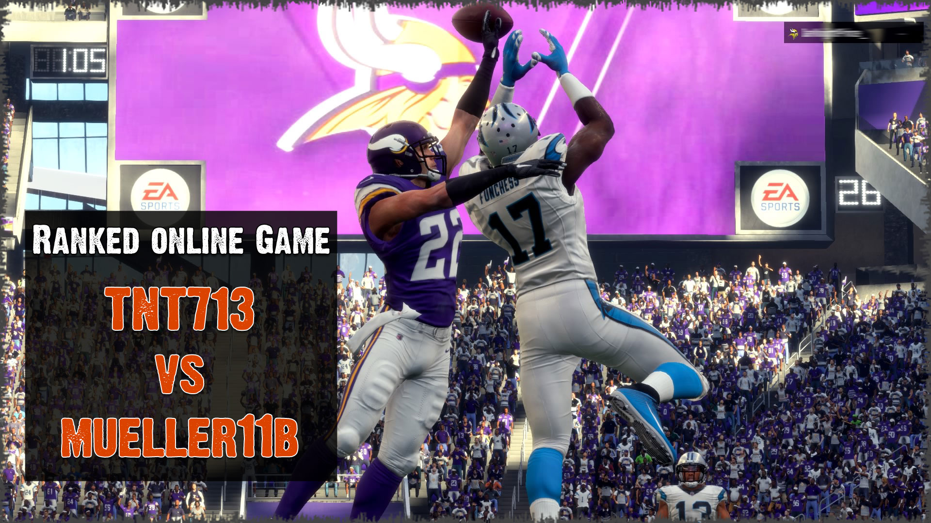 A Madden NFL 18 online ranked game between TNT713 Panthers and mueller11b Vikings